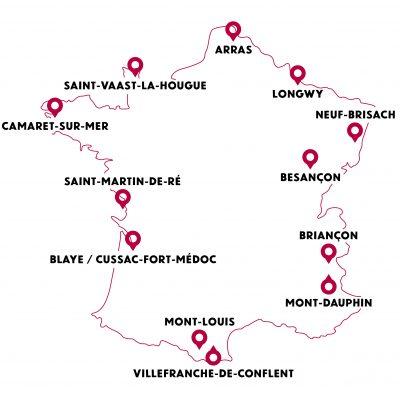 Cartes 12 sites majeurs Vauban